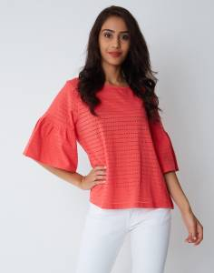 Provogue Casual Bell Sleeve Solid Women's Pink Top