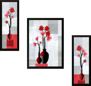 SAF Set of 3 Flowers Digital Reprint Painting