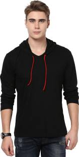 Katso Solid Men S Hooded Black T Shirt