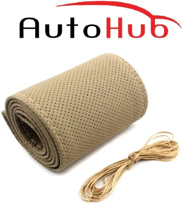 Auto Hub Hand Stiched Steering Cover For Hyundai Elite i20(Beige, Leatherite)
