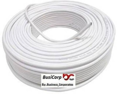 Busicorp CCTV WIRE CABLE 3+1 Full Copper- 90 METER (100 YARDS) White 90 m Wire(white)