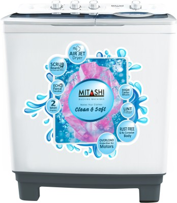 Mitashi 8.5 kg Semi Automatic Top Load Washing Machine White, Grey(MiSAWM85v25 AJD With Air Jet Dryer)
