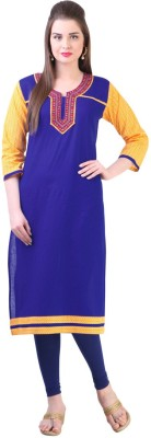 Libas Self Design Women's Straight Kurta(Blue)