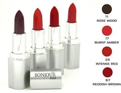 Bonjour Paris Red Lipstick Set 11 17 25 67(16 g, Multicolor,)