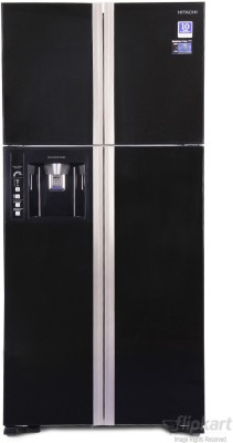 Hitachi 586 L Frost Free Side by Side Refrigerator(Glass Black, R-W660PND3)