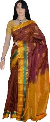 Lakshmi Lifestyle Self Design Kanjivaram Handloom Silk Saree(Brown, Yellow)