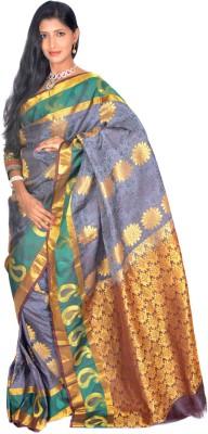 Jagadamba Floral Print Fashion Silk Saree(Multicolor)