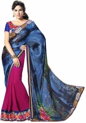 MAHOTSAV Self Design Fashion Satin, Chiffon Saree(Blue, Pink)