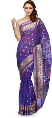 Bunkar Self Design Banarasi Cotton Saree(Purple, Multicolor)