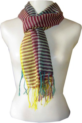 Dushaalaa Striped Silk, Coton Women's Scarf