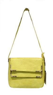 Moochies Women Yellow Leatherette Sling Bag