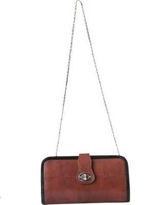 Essart Women Tan, Black PU Sling Bag