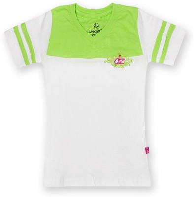 Dreamszone Girls Solid T Shirt(Green)