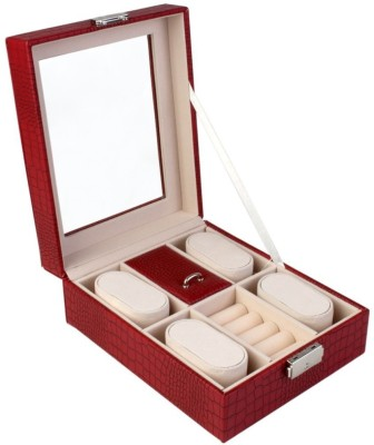 BlushBees Leather Jewelry & Watch Box Organizer with Lock & Clear Top - Organiser Vanity Box(Red)