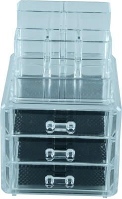 Kurtzy Double Layer Organiser Jewellery Organiser Vanity Box(Transparent)