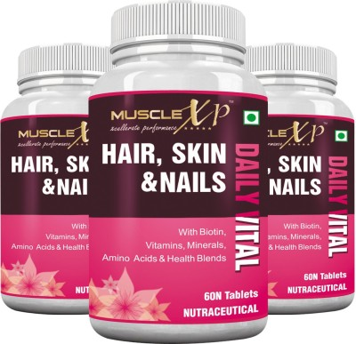 MuscleXP Biotin Hair, Skin & Nails (Pack of 3)(180 No)