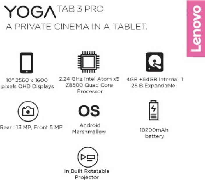 Lenovo Yoga Tab 3 Pro 64 GB 10.1 inch 4 GB RAM with Integrated Rotatable Projector (Wi-Fi+4G)(Puma Black)