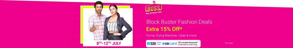 Block Buster Fashion Deals | Extra 15% off | Puma, Flying Machine, Libas & More