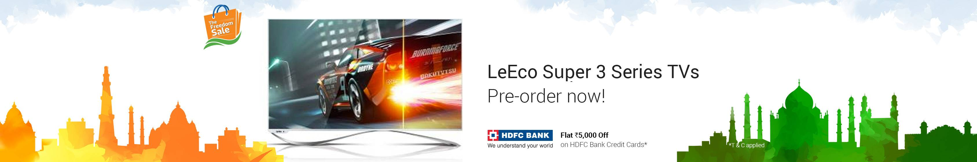 LeEco Super 3 Series TV HDFC card offers coupons promo codes cashback offers deals
