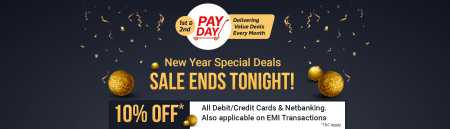 New year special deal at Flipkart with 10% Instant discount on all online transcations