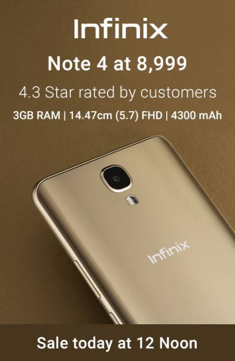 Infinix Note 4 sale today 16th July