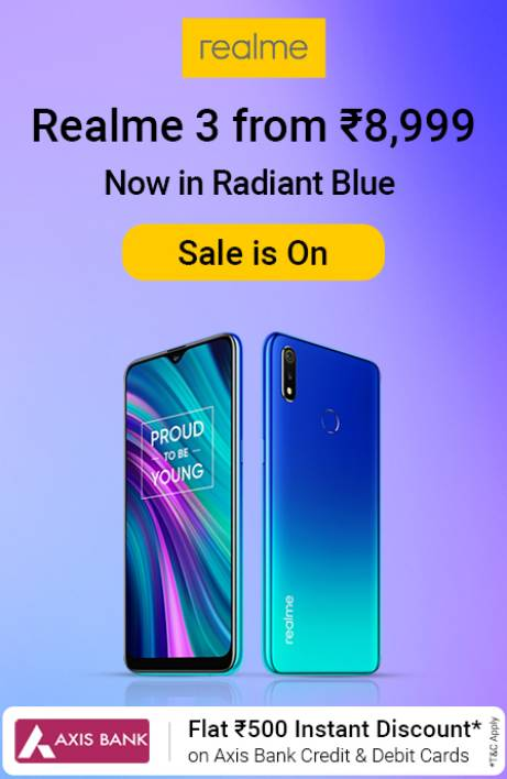 Realme 3 Sale is on