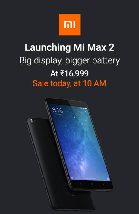 Mi Max 2 Sale Today at 10AM RHS