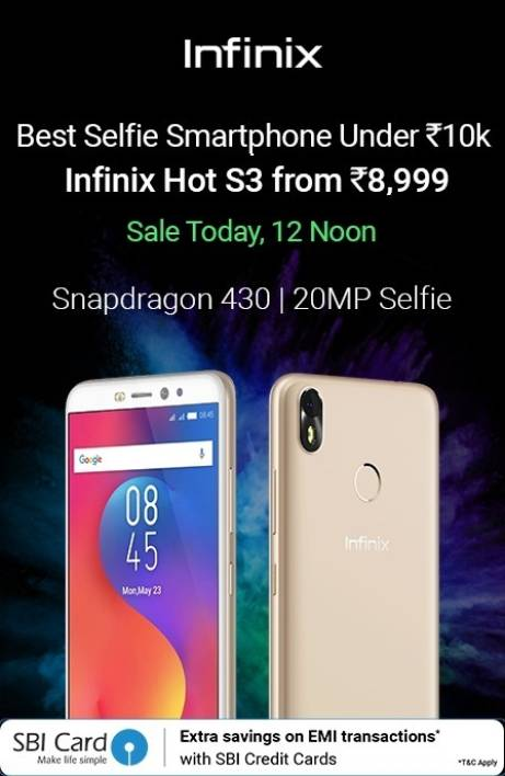 Infinix hot s3 12AM to 9AM
