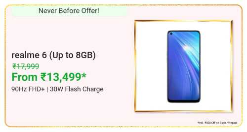 flipkart.com - Realme 6 Smartphone starting at just ₹13499