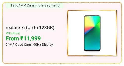Flipkart Daily Deals & Discount Sale - Realme 7i Smartphone starting at just ₹11999