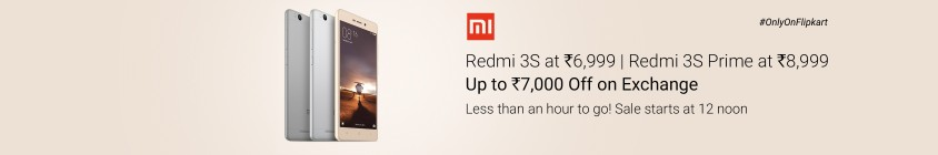 Redmi 3S (16 GB) at Rs 6999 only ( Redmi 3S Prime 32 GB at Rs 8999 only )