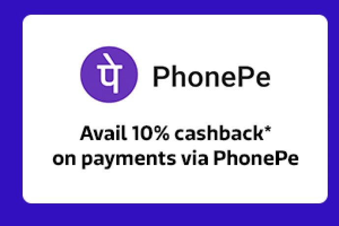 Avail 10% cashback* on payments via PhonePe
