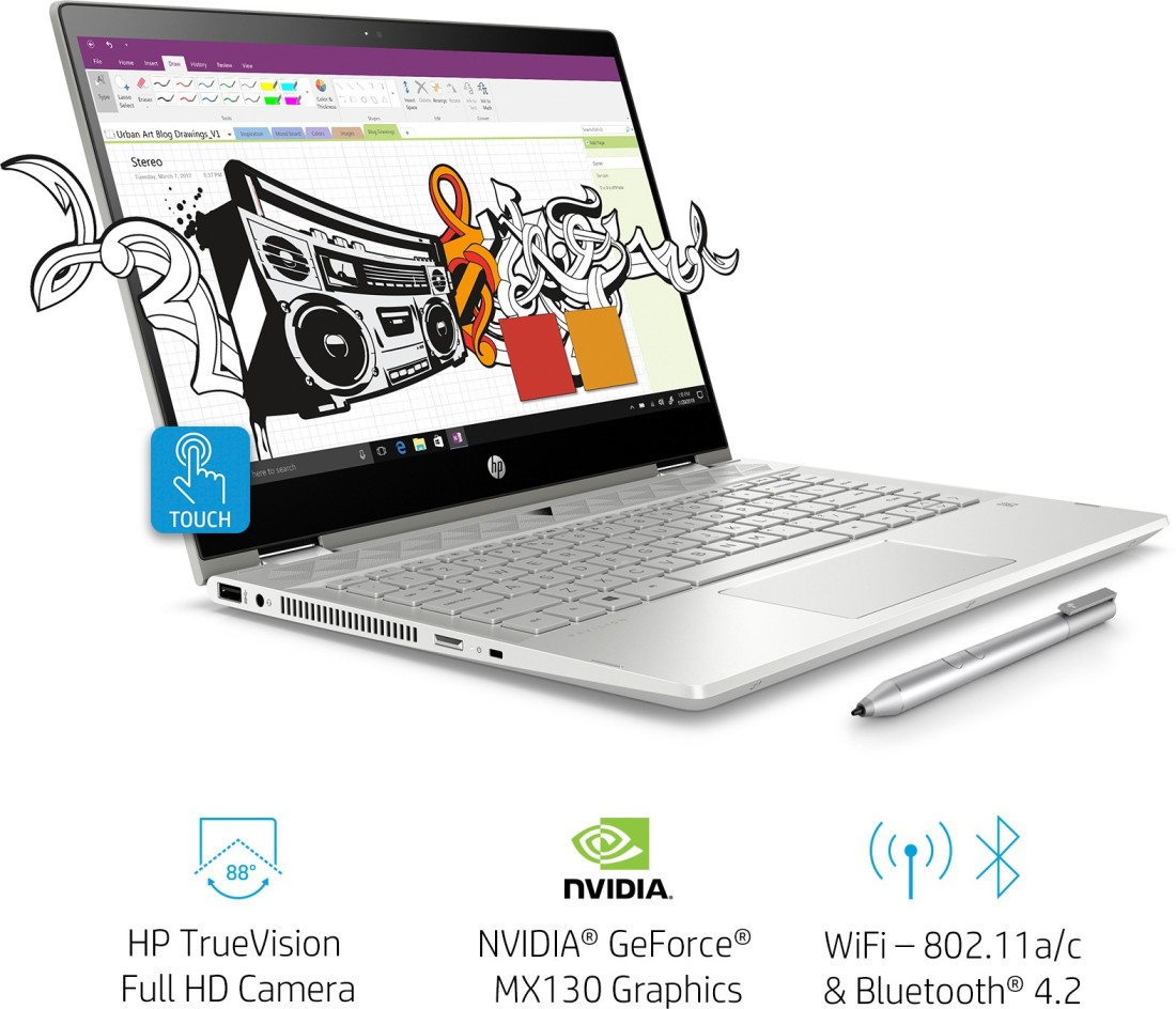 Hp Pavilion X360 Core I7 8th Gen 8 Gb 16 Gb Optane 1 Tb Hdd Windows 10 Home 4 Gb Graphics 14 Cd0055tx 2 In 1 Laptop Rs 87990 Price In India Buy Hp