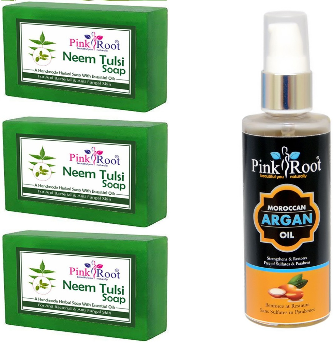 Pink Root Neem & Tulsi soap pack of 45 with Argan hair Growth Oil