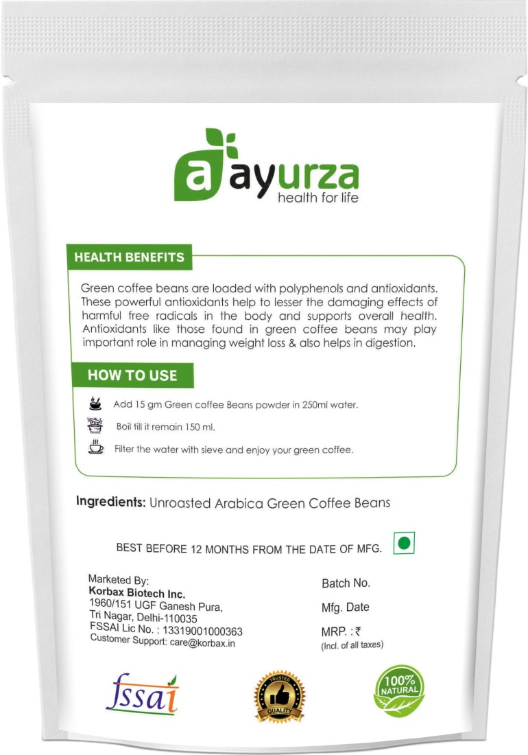 Aayurza Pack Of 3 Fresh And Natural Green Coffee Beans Powder