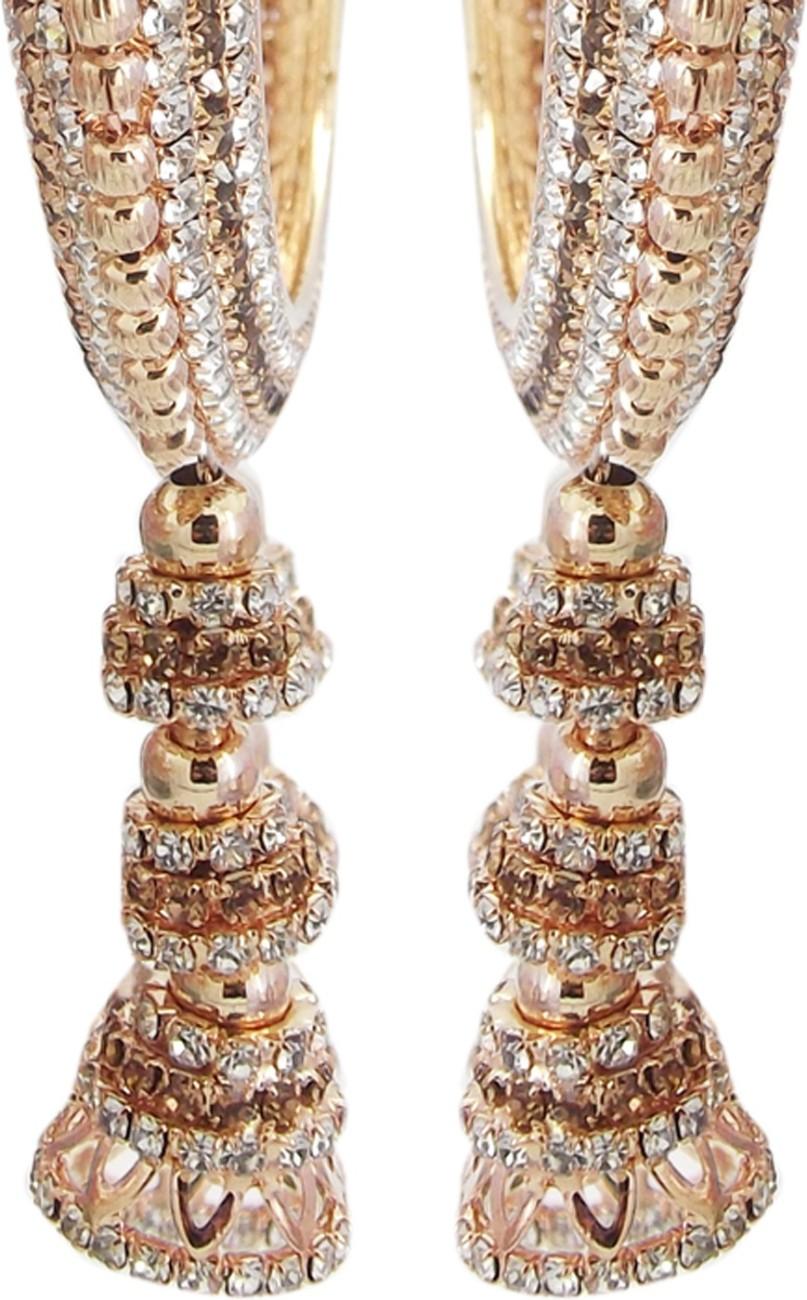 Biyu Jhumki Collection Gold Plated LCT CZ 2pc Bangles