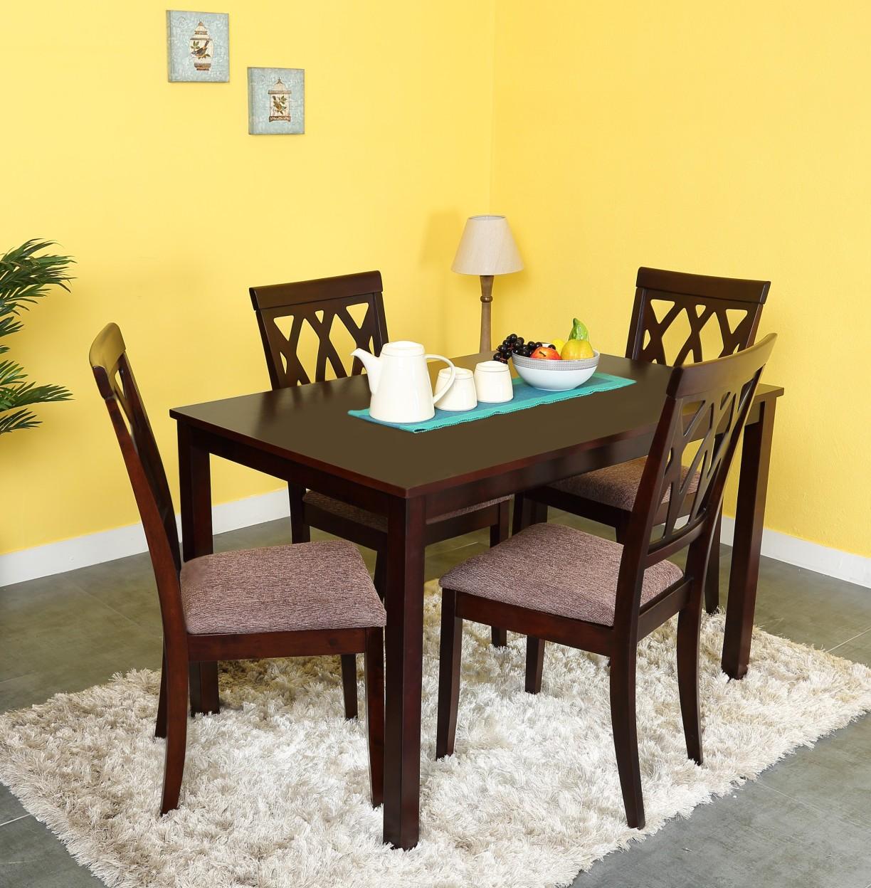 @home by Nilkamal PEAK Solid Wood 4 Seater Dining Set