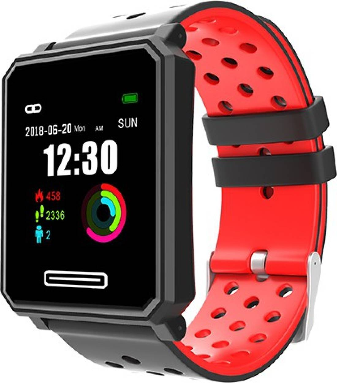 Hottech 5583 Black, Red Smartwatch (Black Strap Free Size)