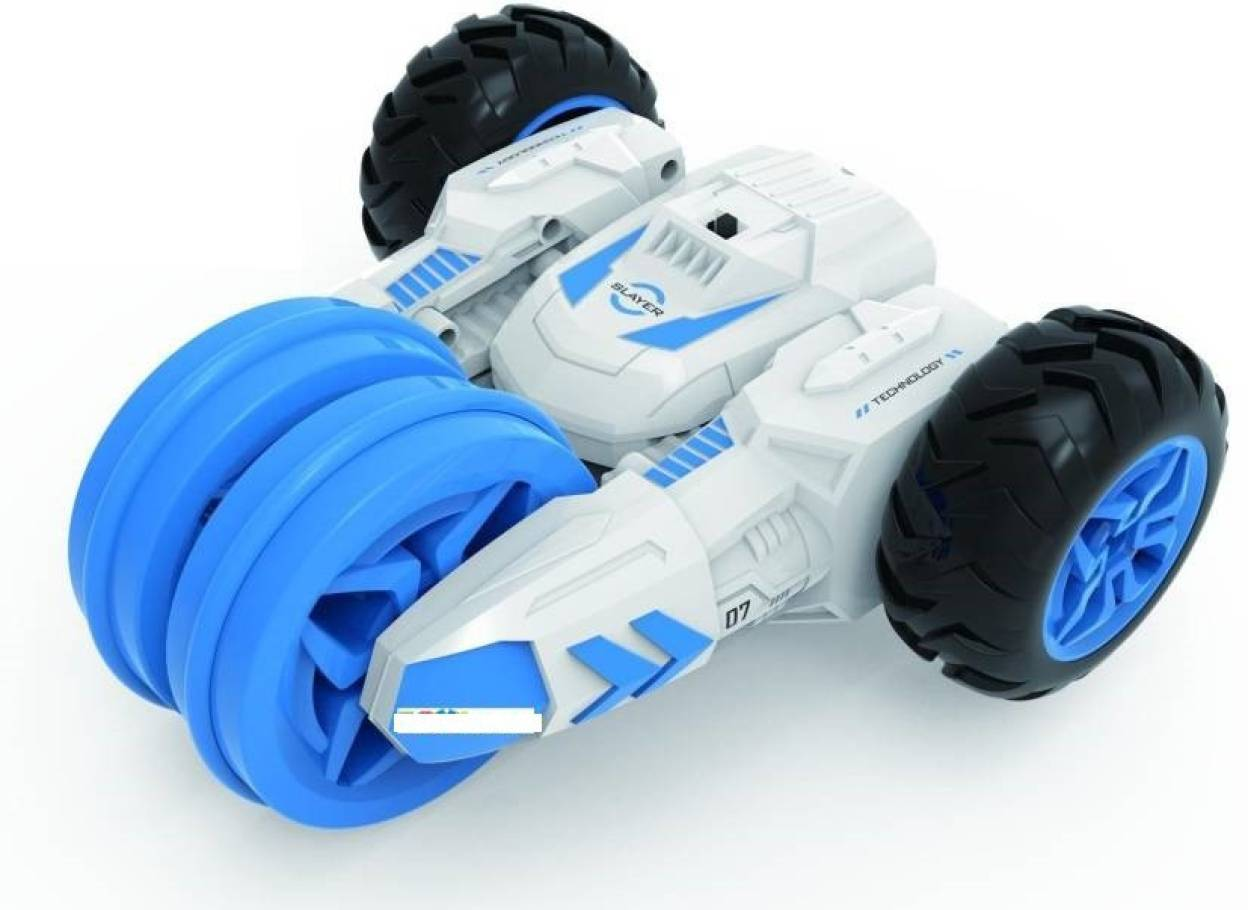 Smartcraft 30KM/H High Speed Double-sided Action RC Racing Stunt Car with  LED Headlight (Blue, White)