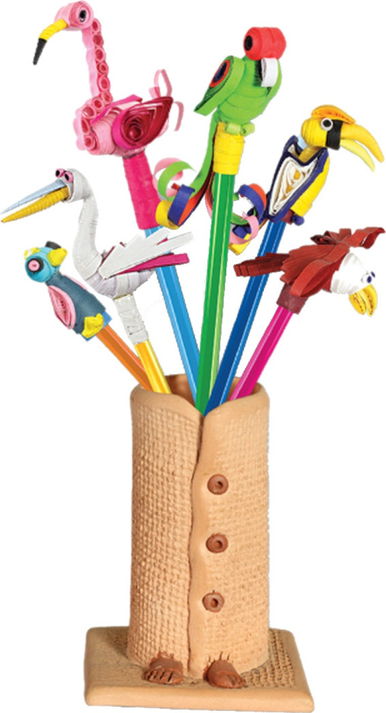 Toy kraft paper quilled pencil caps birds paper for Art n craft store