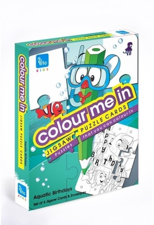 C colour me in jigsaw puzzle cards aquatic birthdays