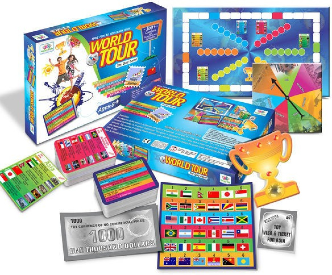Toys For Games : Happy kidz world tour the quiz game educational board