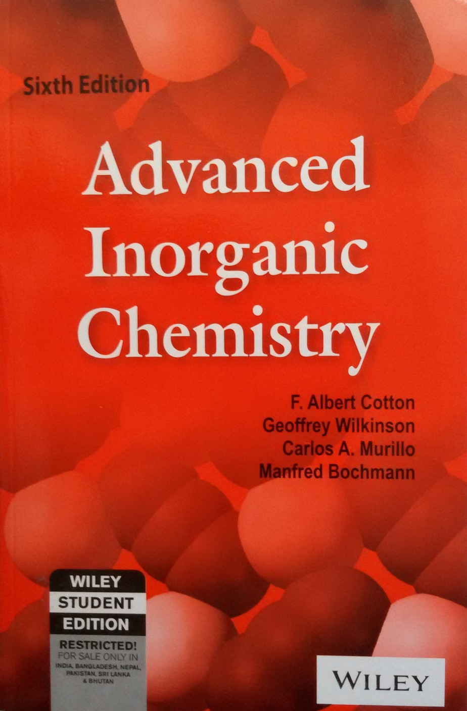 advanced inorganic chemistry th edition buy advanced inorganic advanced inorganic chemistry 6th edition add to cart