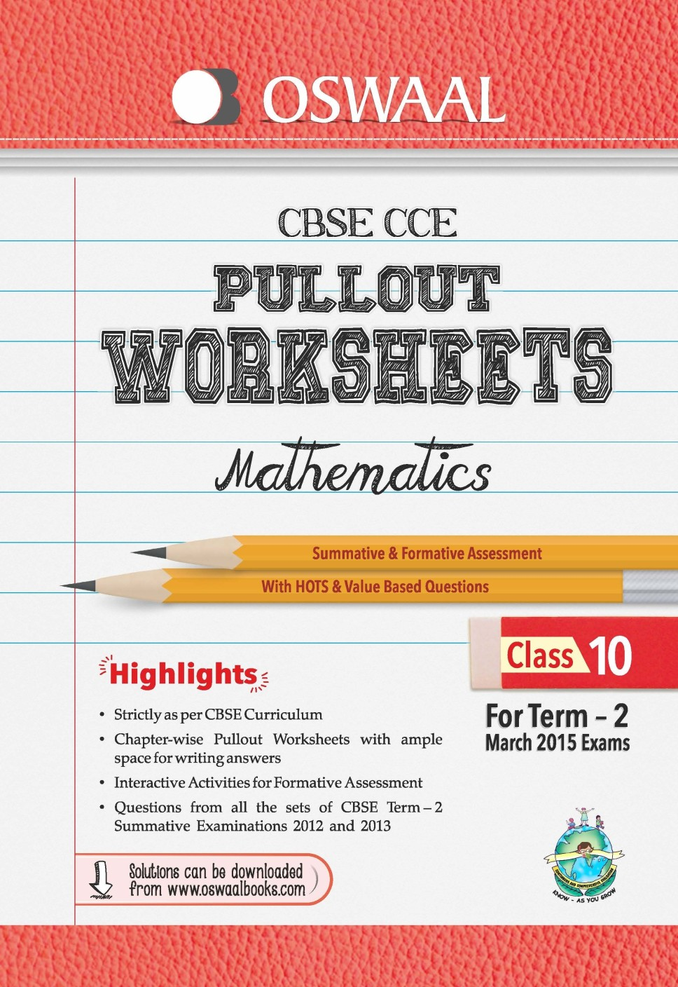 Oswaal CBSE CCE Pullout Worksheets for Term 2 Class 10 Mathematics ...