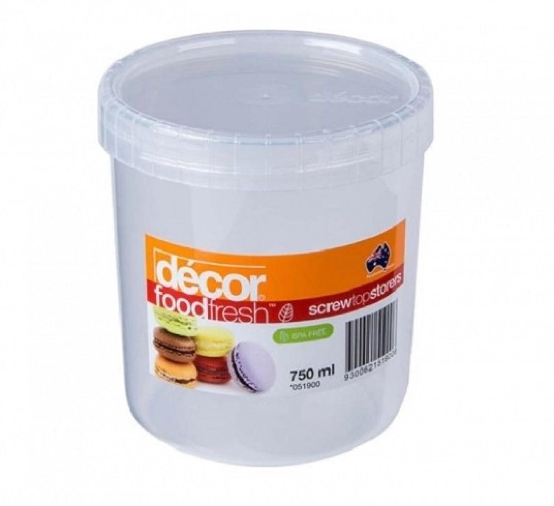 Decor food fresh screw top storer 750 ml plastic food for Decor 750ml