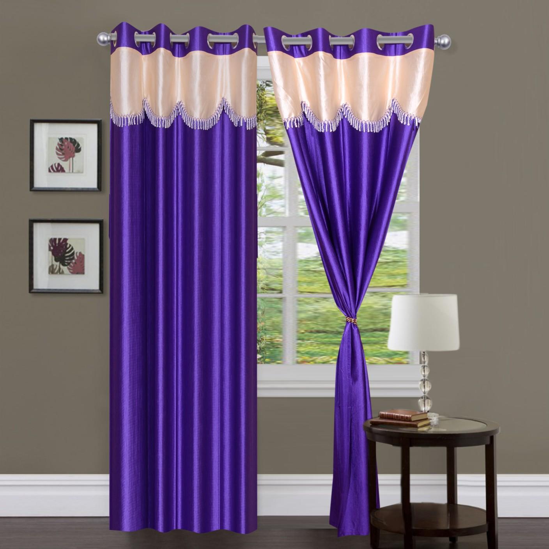 Panipat Textile Hub Polyester Purple Floral Eyelet Window