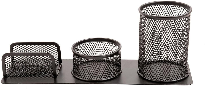 Flipkart.com | Callas 3 Compartments Metal mesh Pen stand, business ...