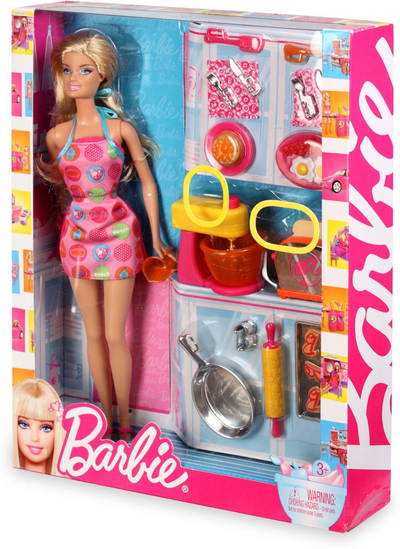 Mattel barbie doll and kitchen accessory set v8656 for Kitchen set on flipkart