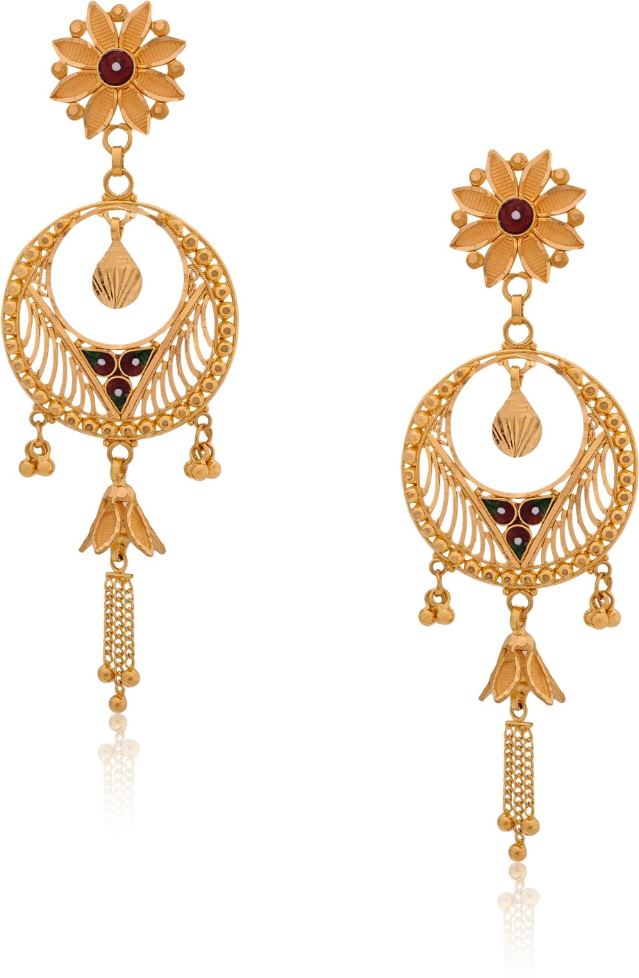 Senco Gold Flowery Yellow Gold 22kt Dangle Earring Price in India ...