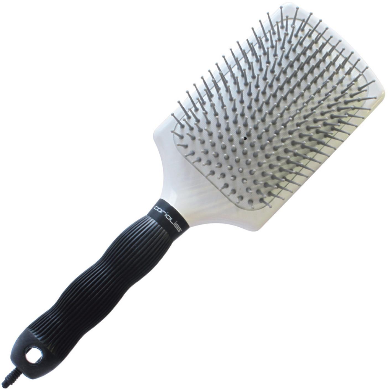 Corioliss White Soft Cushion Large Paddle Brush With Mic